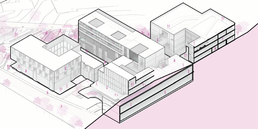 Axonometric Drawing School Complex Representation Cebeci architectureTechnical Drawing, Architecture Student, Space Architecture, Presentation Layout, Architectural Presentation, Croquis